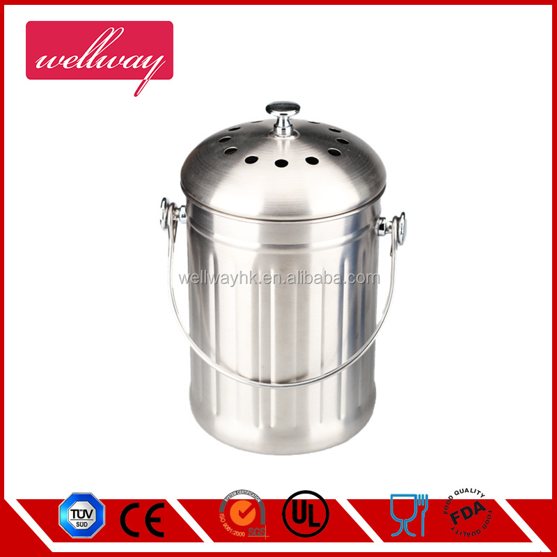 1.0 Gallon Stainless steel kitchen compost bucket with Filter