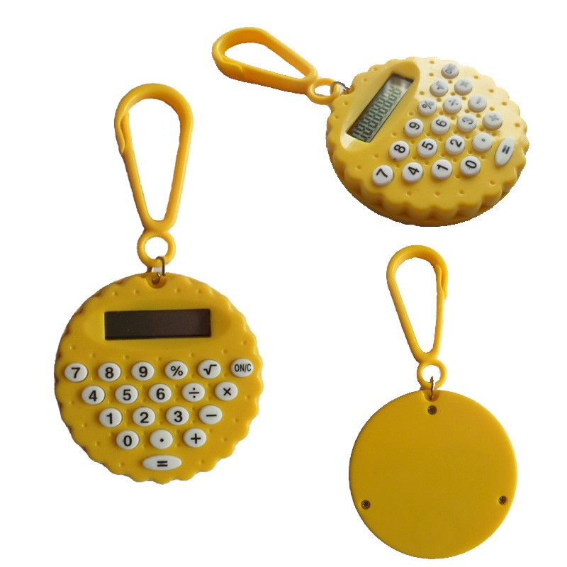 Round cookie shape mini calculator watch for kids