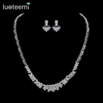 LUOTEEMI 2016 New Wedding Bridal Silver CZ Rhinestone Girls Necklace Earring Jewelry Sets