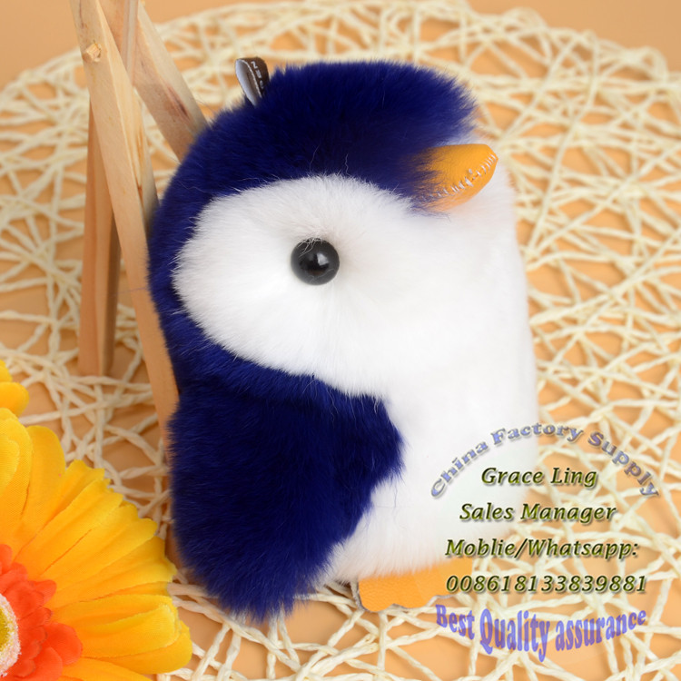 New Hot Sale Rex Rabbit Fur Cute Penguin Keychain Mini penguin Toy Doll Real Fur Monster Keychains