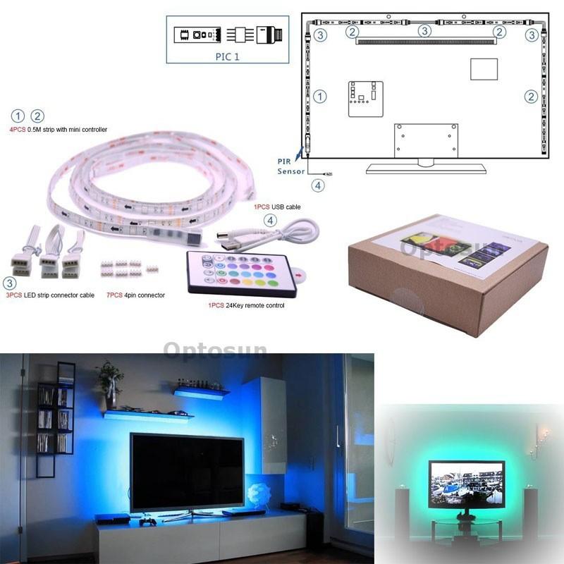 5050 rgb usb led light strip kit flexible adhesive back. Black Bedroom Furniture Sets. Home Design Ideas