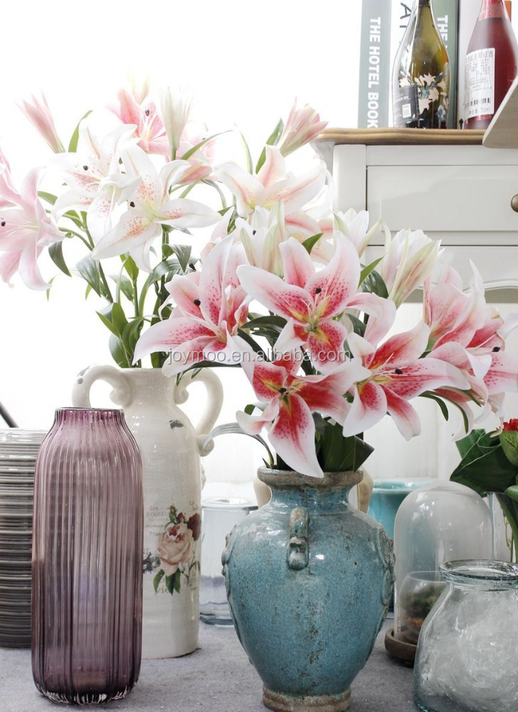 Wholesale White Pink Silk 3D artificial Lily <strong>Flowers</strong> for Home Decoration