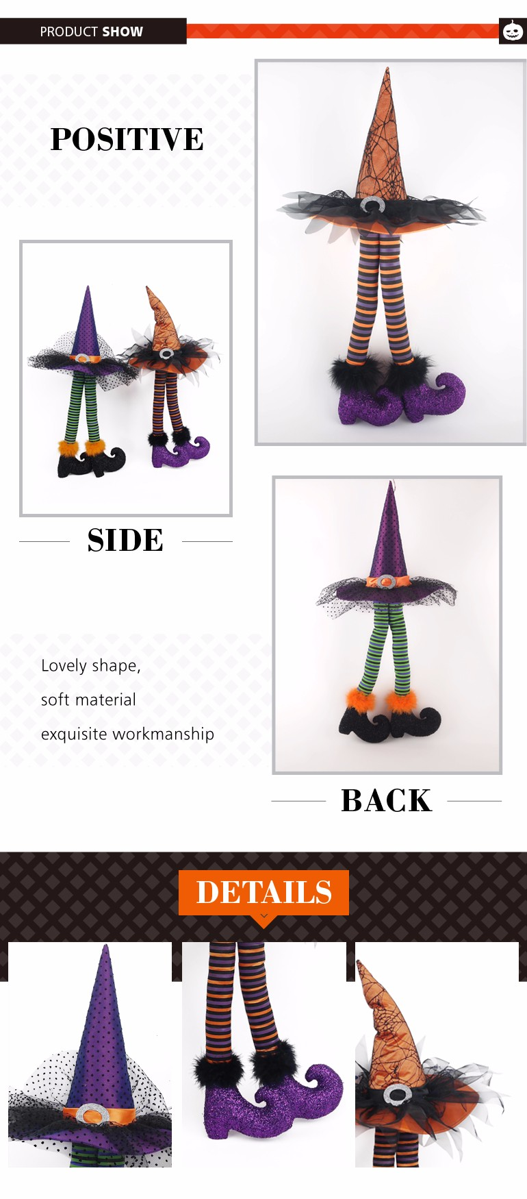 Halloween Witch Hat Legs Table Decoration Gift Ideas With High