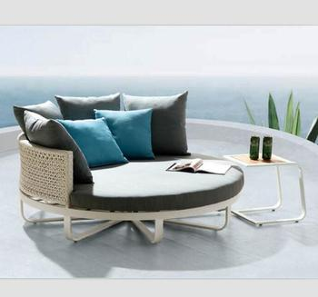 Round Shape Patio Daybed Aluminum Furniture Bali Bed Outdoor
