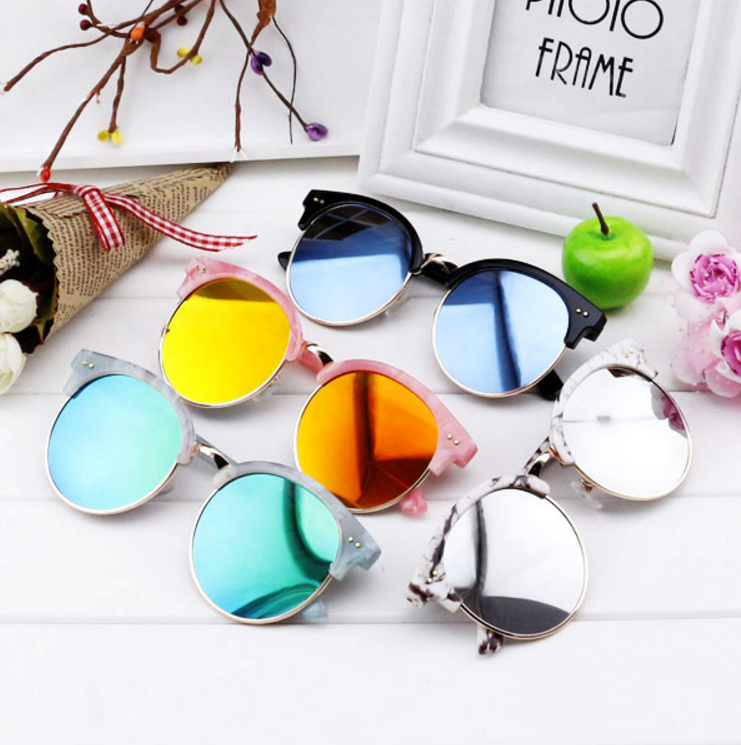 Kid Metal Sunglasses Children Boys Girls Cute Round Mirror Cat Eye Frame UV400 Mirror Eyewear Sun Glasses Small and Big Size