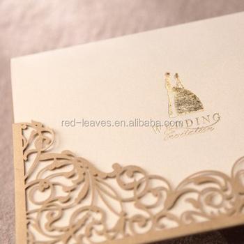 Royal Wedding Gifts Item Laser Cut 250gsm Pearl Paper Invitation