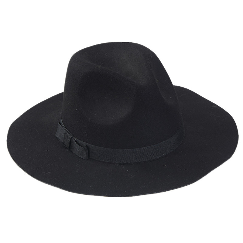 80dec4ec4ab20 Wholesale Lady Fedora Wool Felt Wide Brim Black Fedora Hats For Women