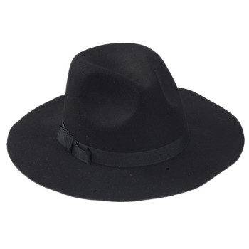 20d5b2bad94cd Wholesale Lady Fedora Wool Felt Wide Brim Black Fedora Hats For Women