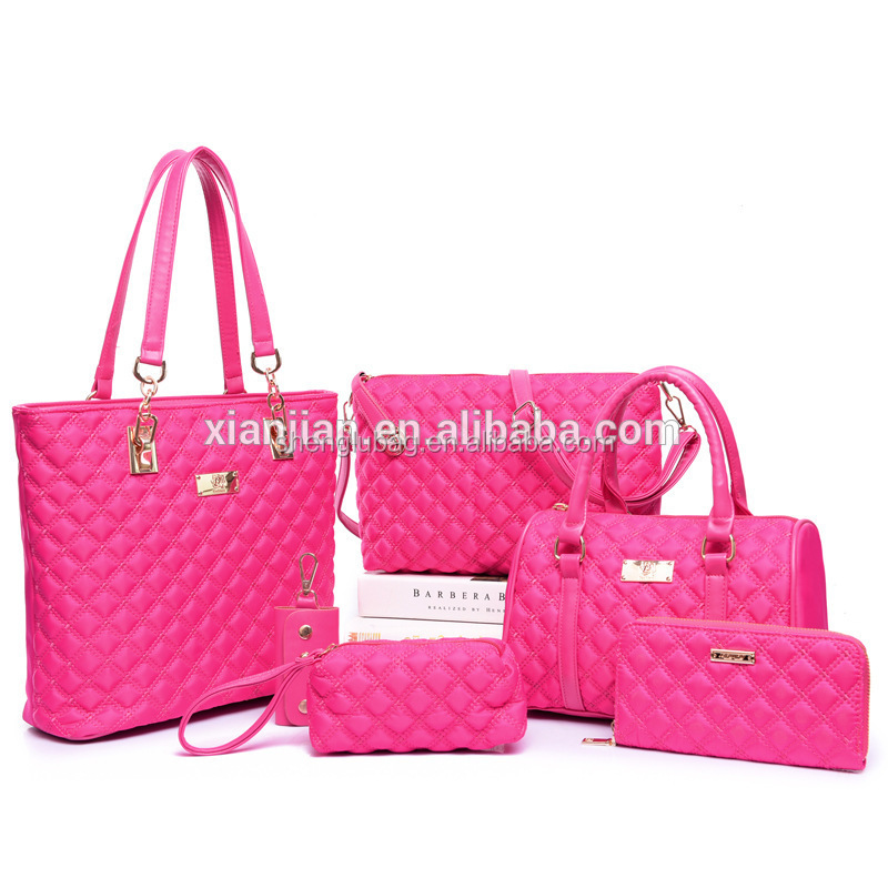 Classic delicate elegant high quality fashion fancy ling plaid women 6pcs/set tote shoulder <strong>handbags</strong> for wholesale