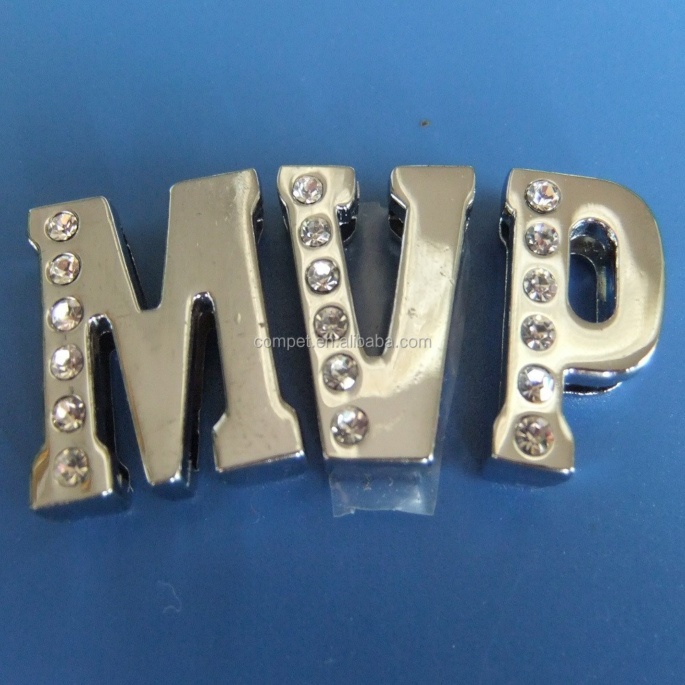 DIY Zinc Alloy Metal Slider 18mm Letters Alphabets MVP with Rhinestones