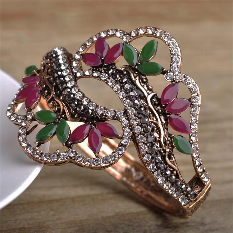151ea7b6bd12 Al por mayor joyería turca diseño vintage oro antiguo escultura bijouterie  flor resina cuff bangles pulseras