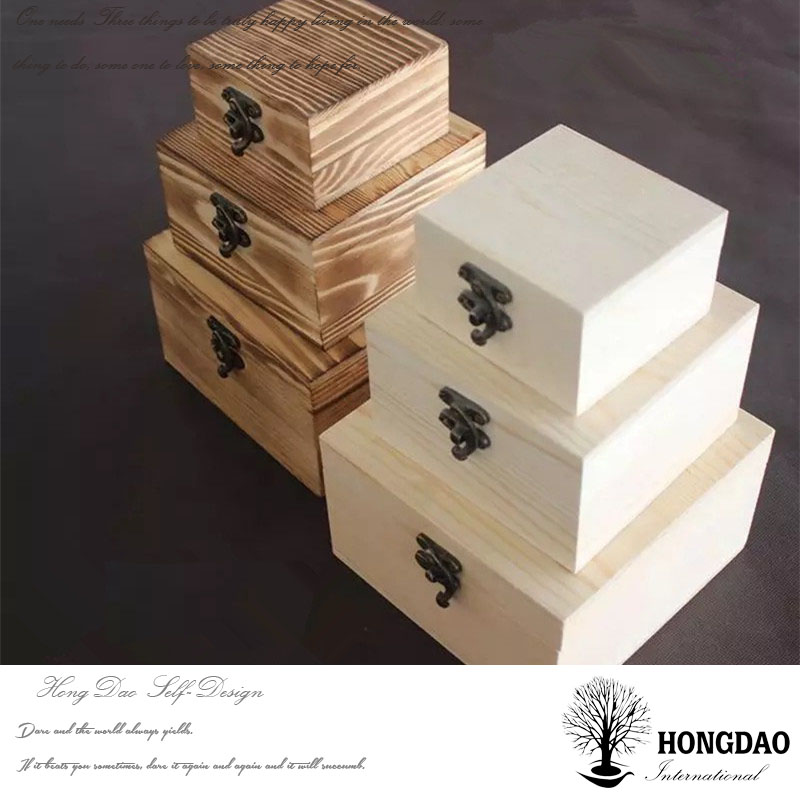 HONGDAO unfinished sliding top lid wooden packaging box with craved logo