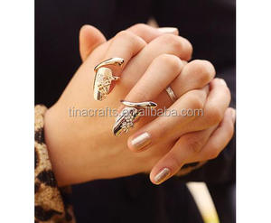 Gold and silver personality finger nail ring for women crystal dragonfly ring for party wedding jewelry