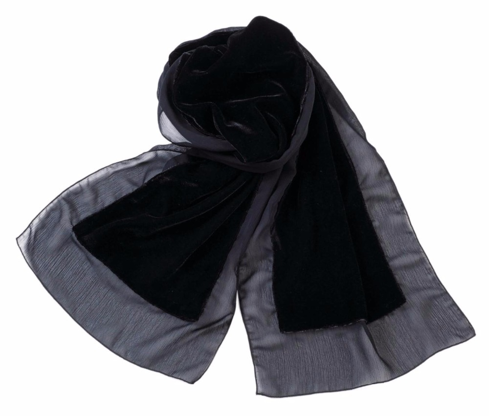 Black Long Winter Formal Plain Solid Velvet Chiffon Party Cold Women Ladies Scarf