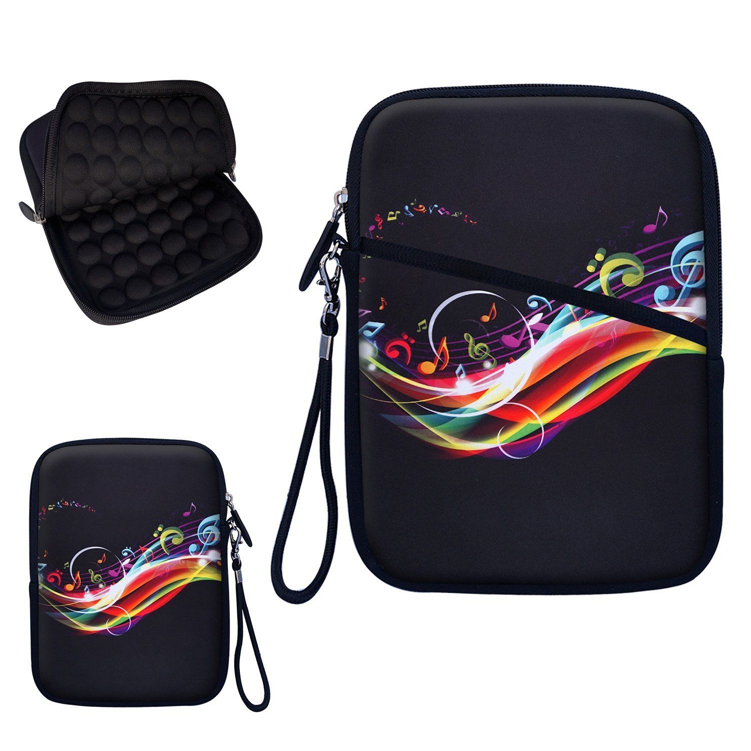 """Neoprene Super Padded Bubble Sleeve Case Cover with Removable Carrying Handle Fits Apple iPad Mini / Amazon Kindle Fire HD / Google Nexus 7 / Samsung Galaxy / Asus / Acer / Archos and Similar Size 7"""" Tablet - Rainbow Butterfly Design"""