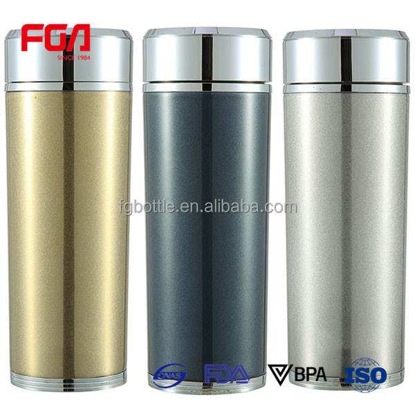 shinning silver color vacuum drinking water bottle/water thermos on sale