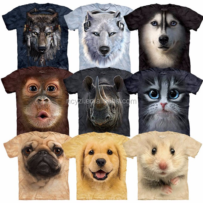 Cool wholesale 3d custom cotton unisex animal printed t for Wildlife t shirts wholesale