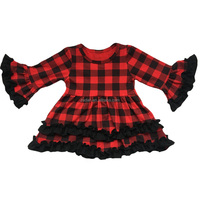 The newest styles for baby boutique clothes ruffle cotton long sleeve one piece buffalo plaid dress in good quality