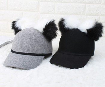 2017 Fashion Best Sell Wool Felt Baseball Cap With Two Ball - Buy ... a9b57a4296a