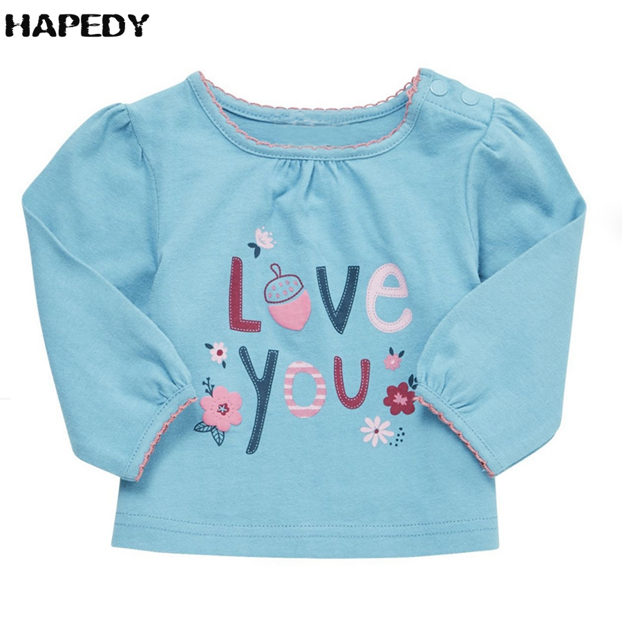 New Autumn Girls Clothing Round Collar T-Shirt With Cotton Long Sleeve