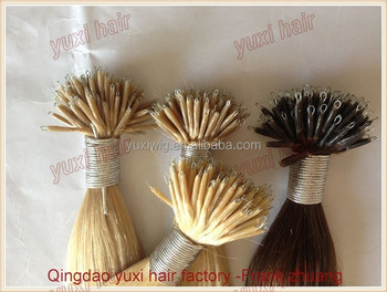 Wholesale double drawn indian remy hair nano ring hair extensions