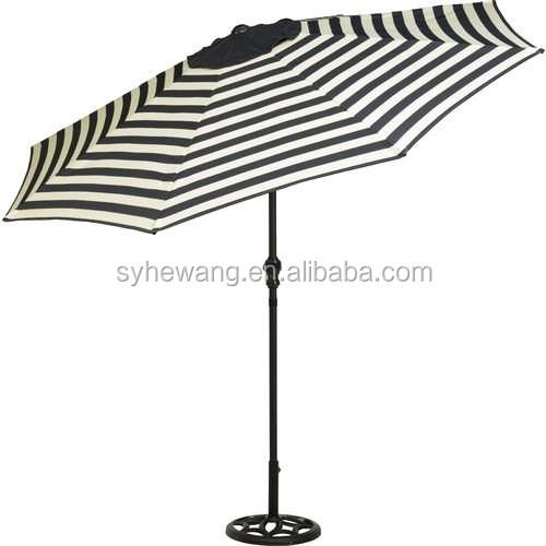9 Ft Outdoor Patio Round Steel Market Beach Umbrella Black White Stripe