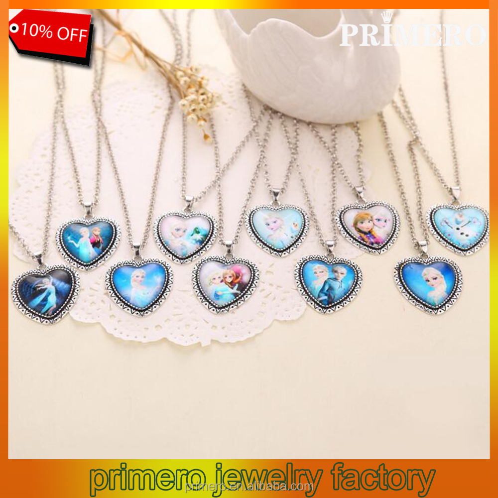 New Alloy Sliver Necklace Chain Princess Froze Elsa Pendants for Girls Wholesale Jewelry