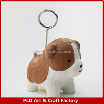 Custom Polyresin Bulk dog Name card clip holder , card stand wholesales