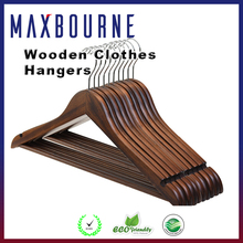 hotselling Extra Wide Shoulder coat Walnut Finish Wooden Hangers with No-slip Bar