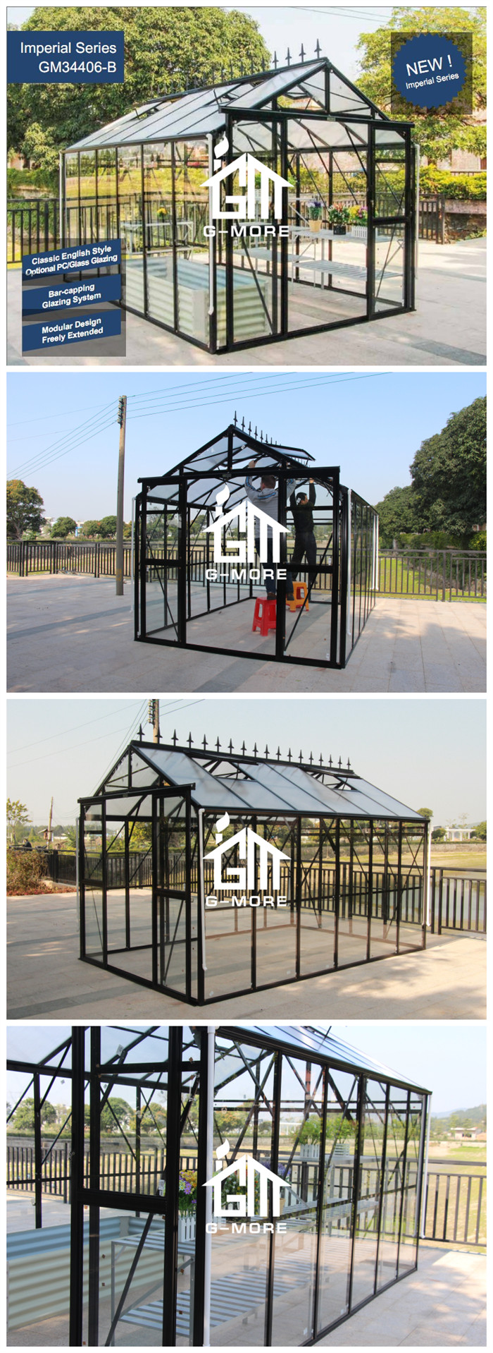 Premium Imperial Series, 8'x12', Optional PC/Glass Glazing, Super Strong Freely Extended Sun Room(GM34406-B)
