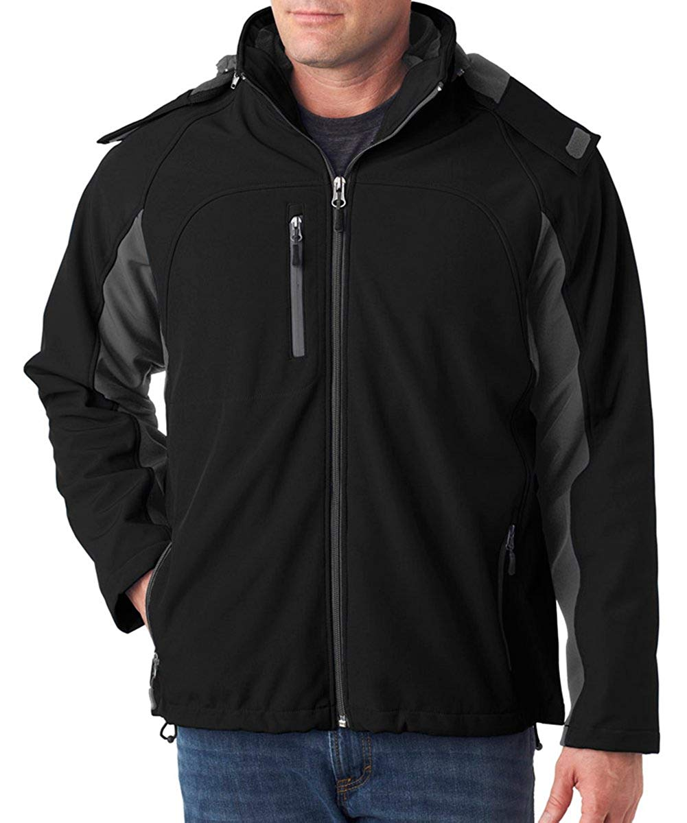 UltraClub mens Color Block 3-in-1 Systems Hooded Soft Shell Jacket (8290)
