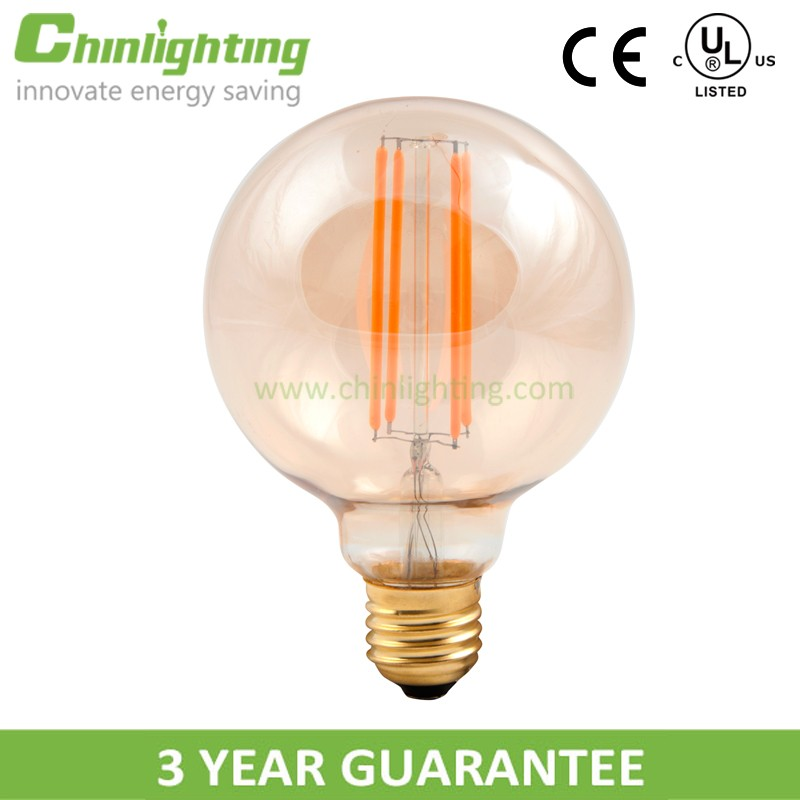 Dimmable high quality led lamp housing golden surface g95 5w 400lm filament led bulb <strong>e27</strong>