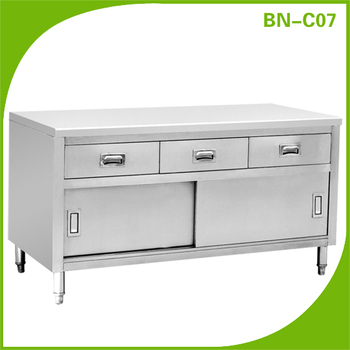 Commercial Kitchen Working Table With Three Drawer And Storage Cabinet