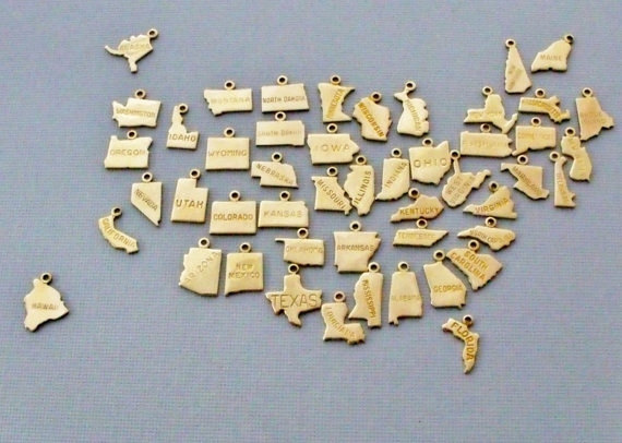 Fashion cheap 18K gold plating state charms for promotion