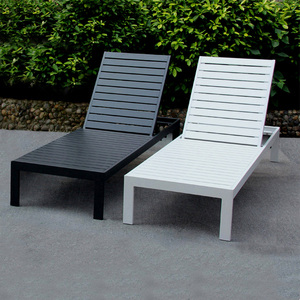Outdoor Beach Lounge Chair Powder Spraying Aluminium Poly Wood Deck Chairs Sunbed Sun Lounger