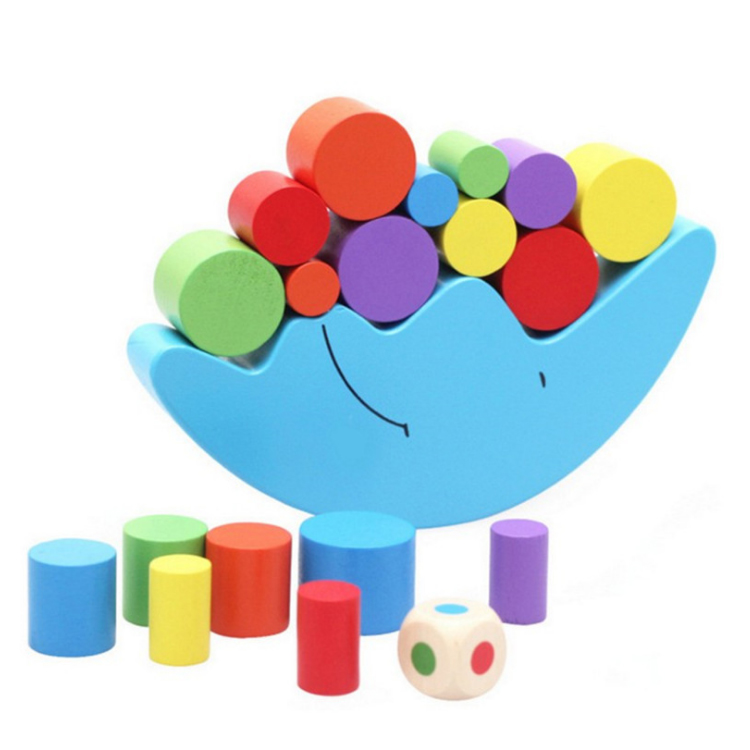 Preschool wooden stacking toys moon puzzle block wooden stacking blocks balancing game toy for kids