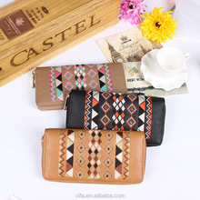 Bohemian PU Leather Women Embroidered Long Single Zip Around Wallet