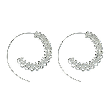 AP38075 Vintage Dangle Gypsy Thin Line Detailed Spiral Swirl Style Wire Hoop Statement Earrings