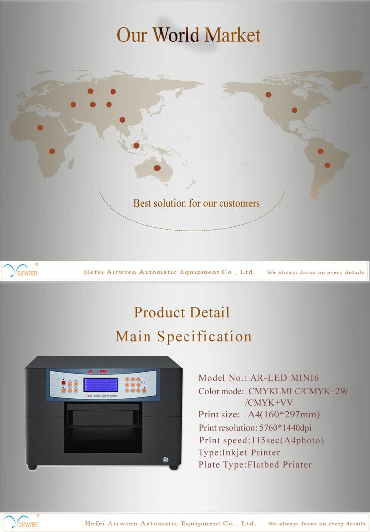 A4 Digital Metal Label Printer Embossed Effect Photo Uv Printing Machine For Plastic