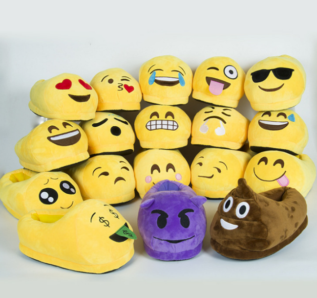 Low Price Custom Funny Adult WhatsAPP and Wechat Plush Emoji <strong>Slippers</strong>