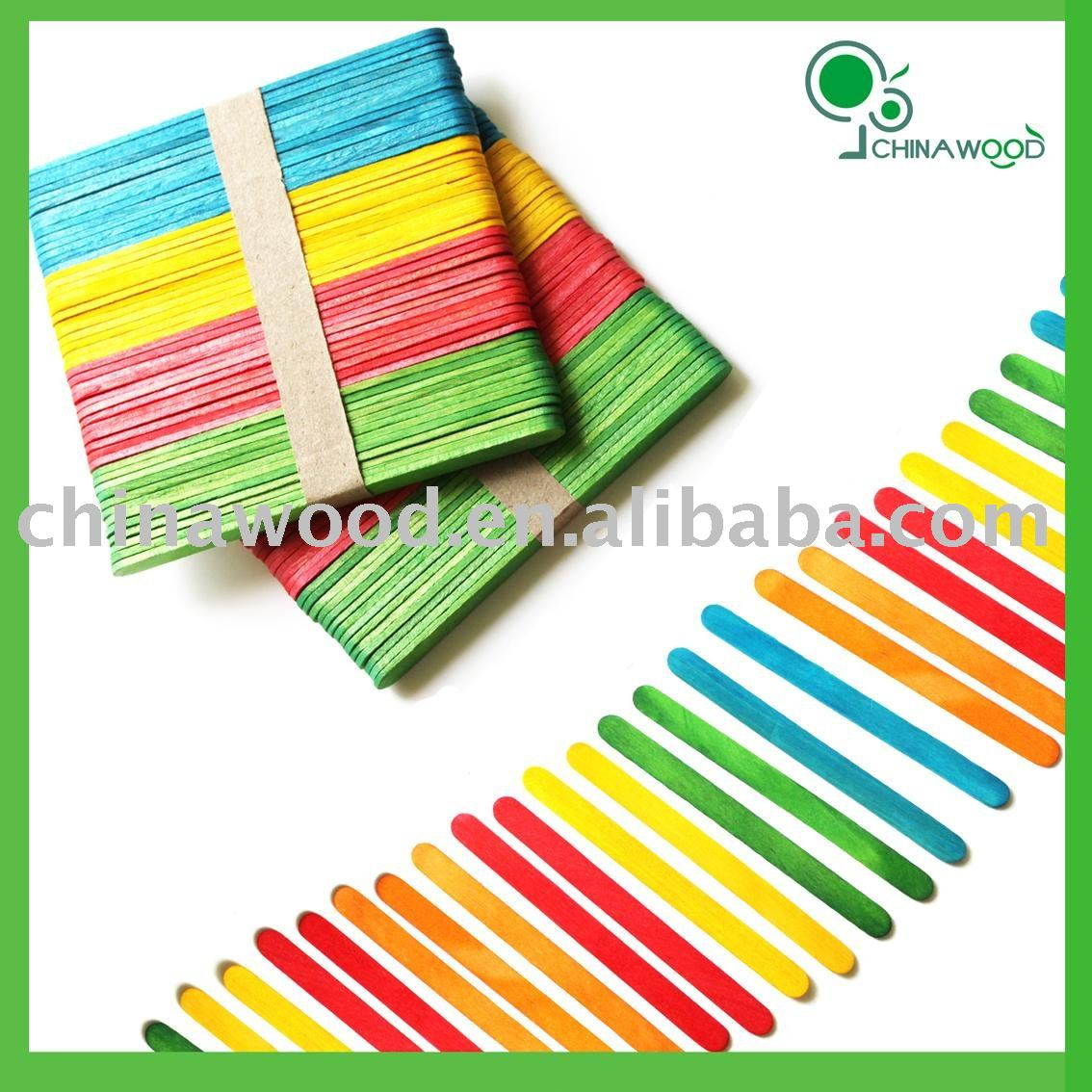 Assorted Colored Craft Wood Popsicle sticks 4 and 1/2""