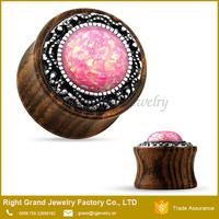 Pink Sythetic Fire Opal Brass Inlay Organic Wooden Ear Plugs Jewelry