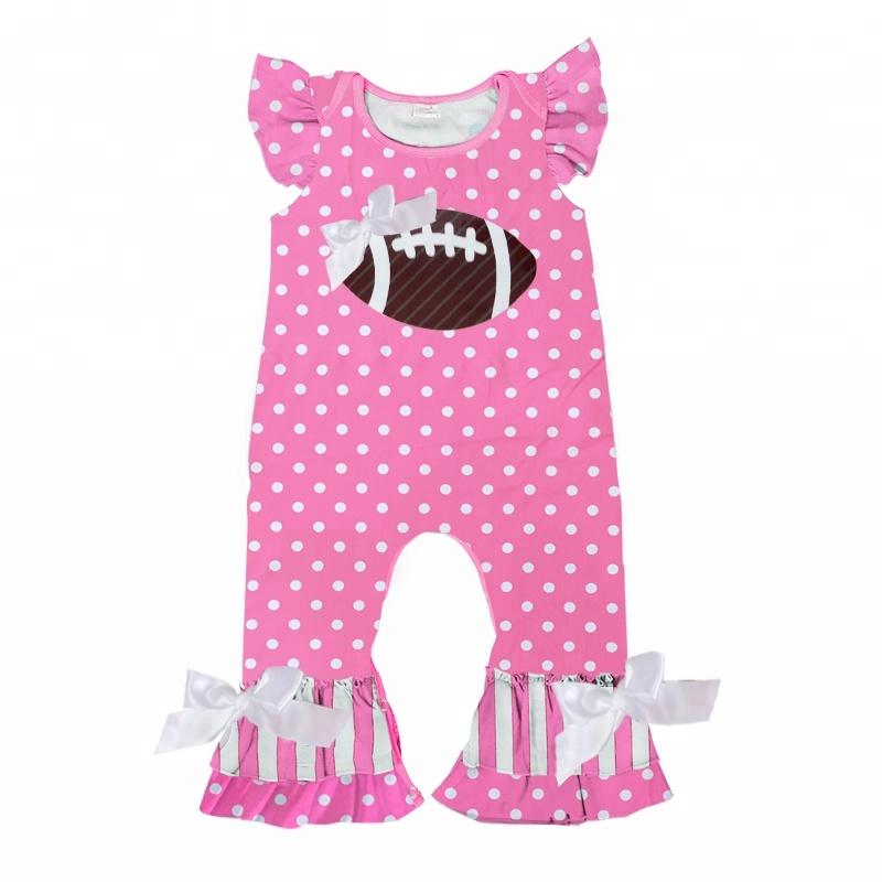 wholesales girls toddler baby clothing sports season outfit football pink romper