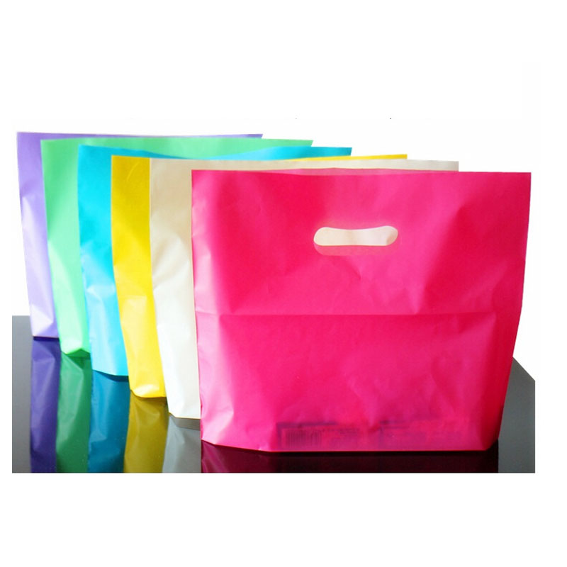 Colorful Plastic Shopping Bags with Handle Pink Boutique