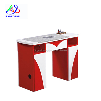 red and white nail manicure table with marble TOP& dust collector