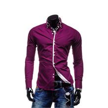 2014 spring Men's casual shirt fashion long-sleeve slim fit shirt men Tops Western cotton dress 8 colors