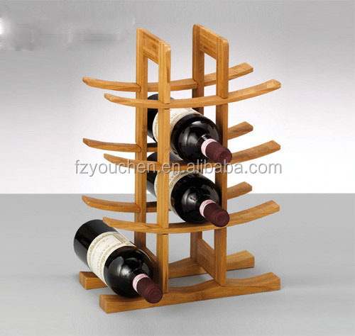 bamboo wine rack with display
