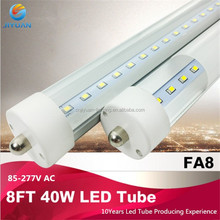 Very bright Clear lens 6500K Shop lighting Single pin/G13/ Integrtaed 8FT T8 LED fluorescent tube replacement