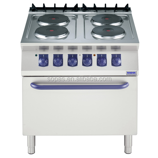 Perfect Sopas Commercial Kitchen Equipment 700 Series Industrial Electric Cooktop  With Oven (4 Round Hot Plate