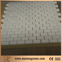 White Travertine Honed Surfacec Marble Stone Mini Brick Mosaic Tile
